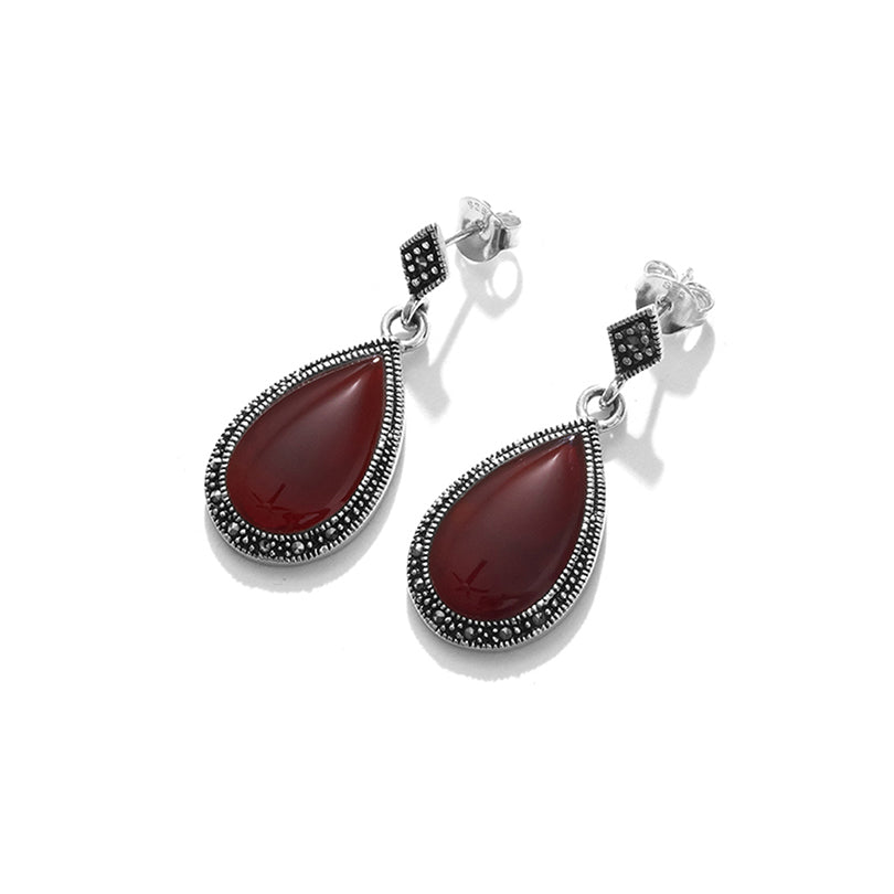 Magnificent Carnelian Sterling Silver Statement Earrings