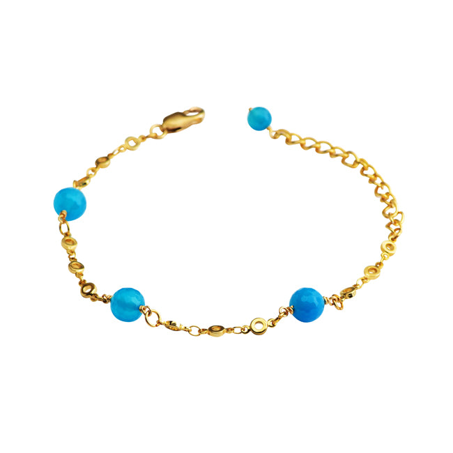 Lovely Blue Agate Gold Plated Bracelet