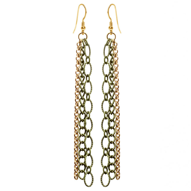 Graceful 3-Strand Gold Plated and Antiqued Link Earrings