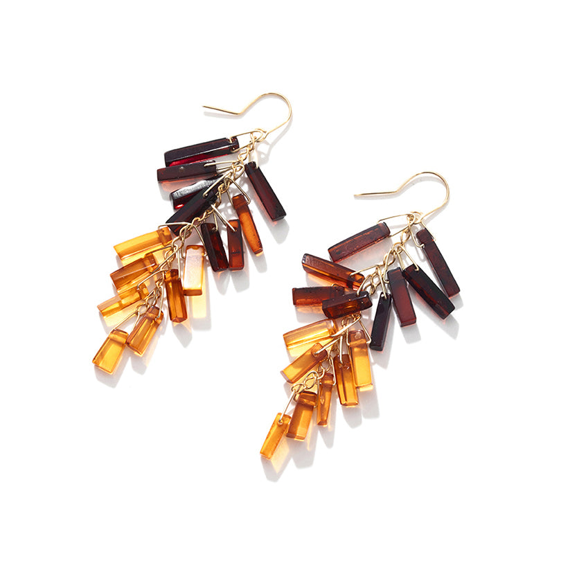 Amazing Cherry & Cognac Baltic Amber Gold Filled Fringe Earrings