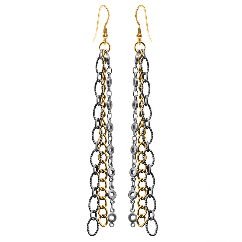 Lovely 3-Strand Black and Gold Plated Link Earrings