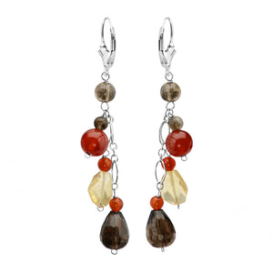 Glorious Blend of Fall Colors! Smoky Quartz, Carnelian and Citrine Sterling Silver Earrings
