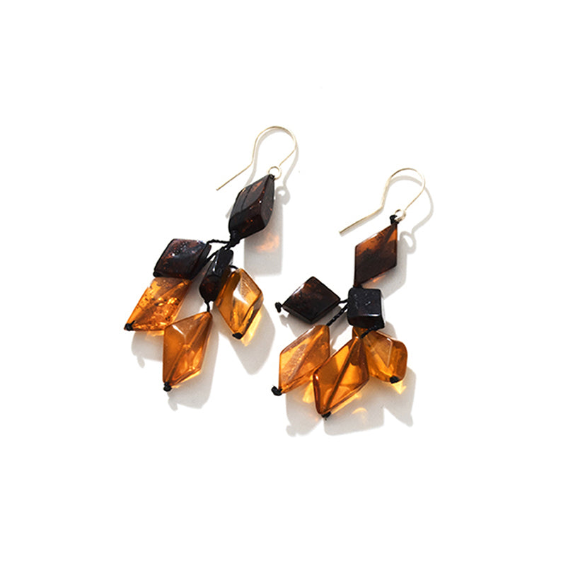 Gorgeous Cherry & Cognac Baltic Amber Sterling Silver Earrings