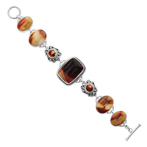 Gorgeous Deep Red Moukaite in Lovely Silver Crafted Design Sterling Silver Bracelet