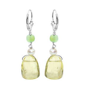 Lovely Lemon Quartz Fresh Water Pearl Sterling Silver Leverback Earrings