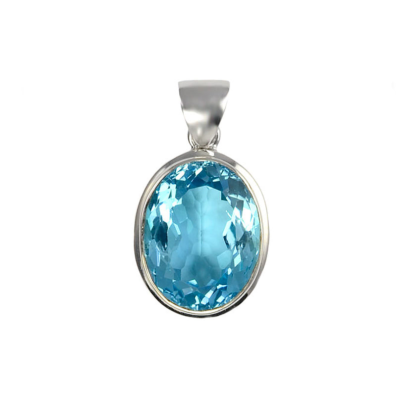Magnificent Deep Blue Topaz Sterling Silver Pendant