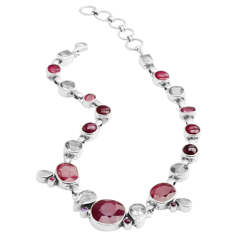 Starborn Glamorous Red Gemstone Sterling Silver Statement Necklace