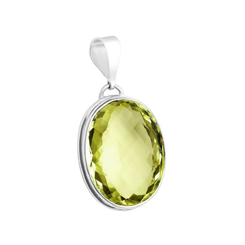 Gorgeous Diamond Cut Lemon Quartz Sterling Silver Jumbo Pendant