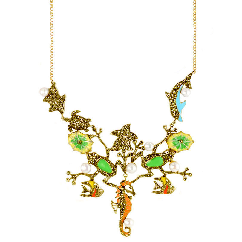 'Under the Sea' 14kt Gold Plated Statement Necklace