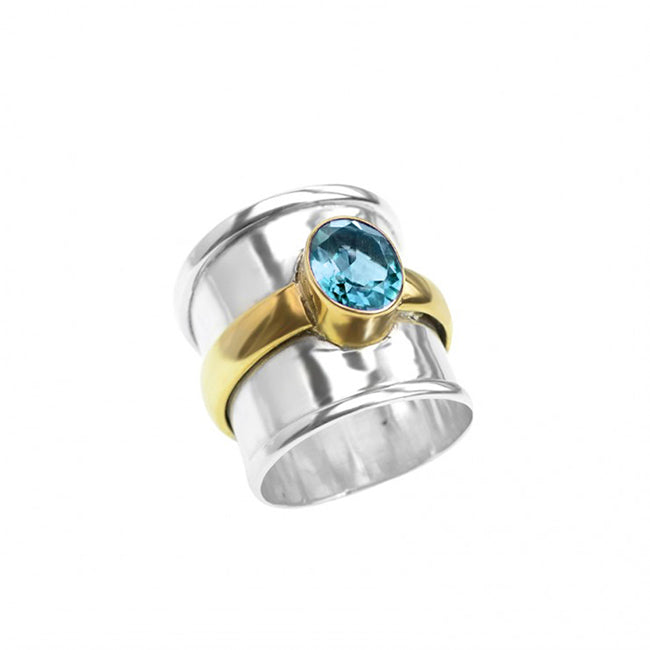 Sterling Silver Blue Topaz Band Ring with Brilliant Golden Brass Strip Accent