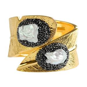 Hematite and Crystal Encircled Fresh Water Pearl Cuff