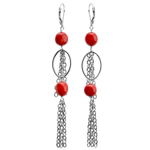 Coral Sterling Silver Earrings