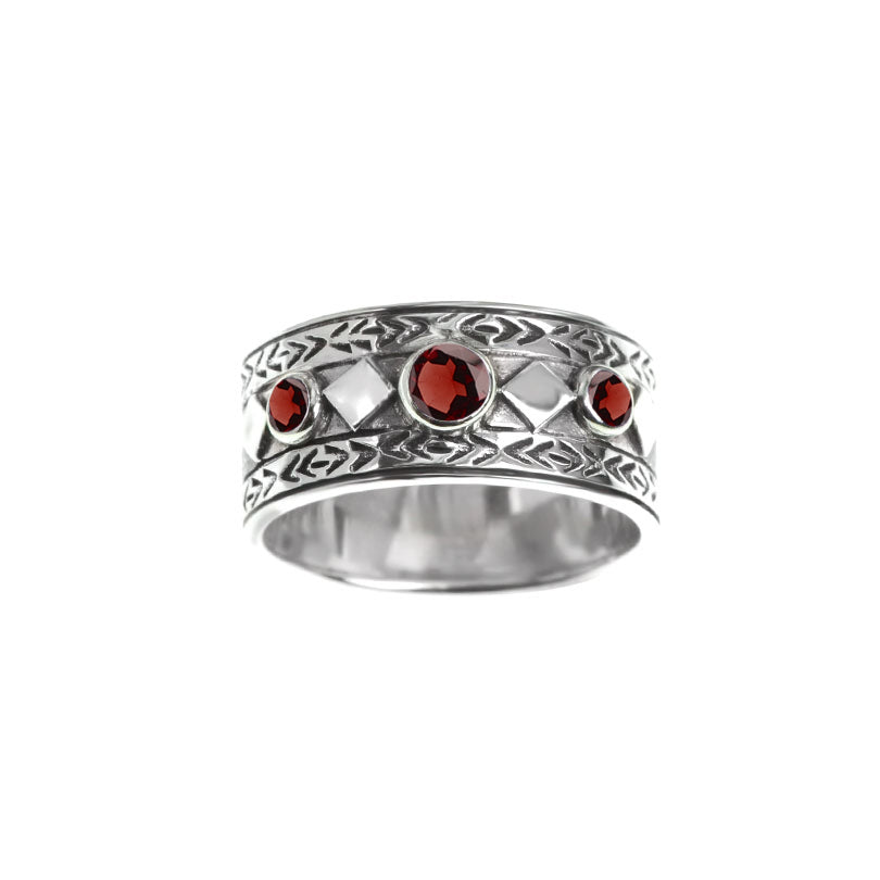 Beautiful deGruchy Garnet Balinese Style Sterling Silver Ring