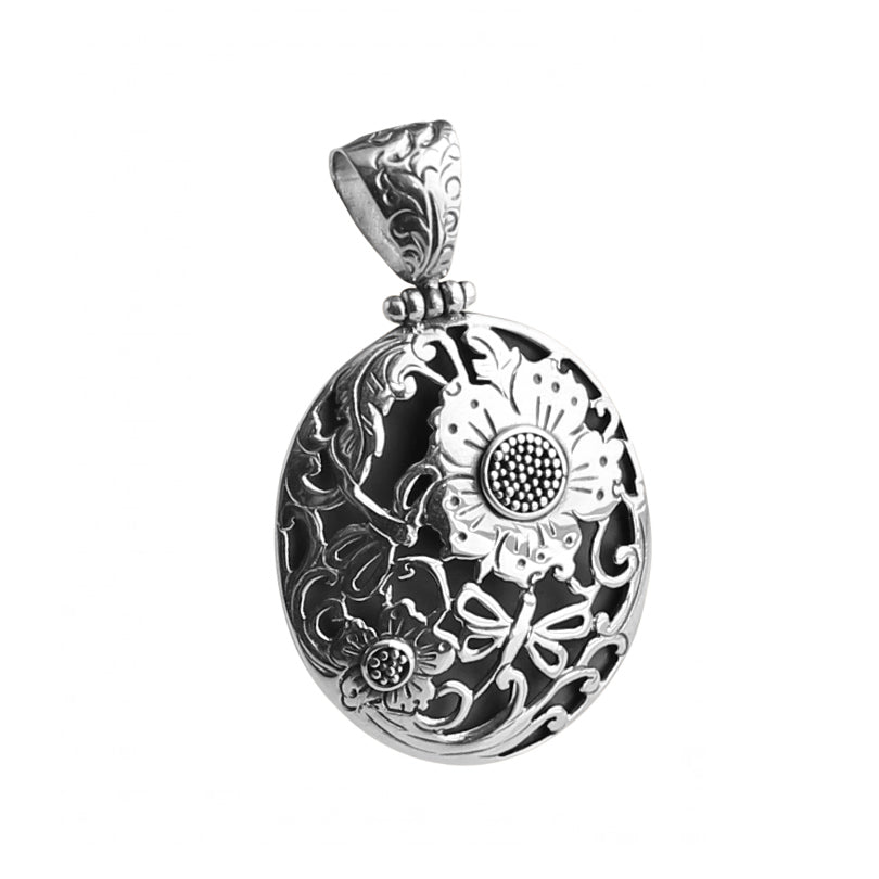 Gorgeous Floral & Butterfly Filigree Balinese Sterling Silver Pendant