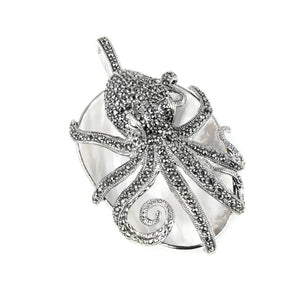 Magnificent White Mother of Pearl  Marcasite Octopus Pendant