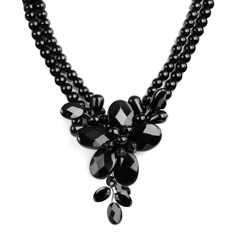 Stunning Black Onyx Sterling Silver Flower Necklace