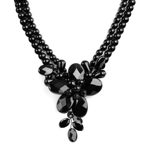 Gorgeous Black Onyx Sterling Silver Flower Necklace