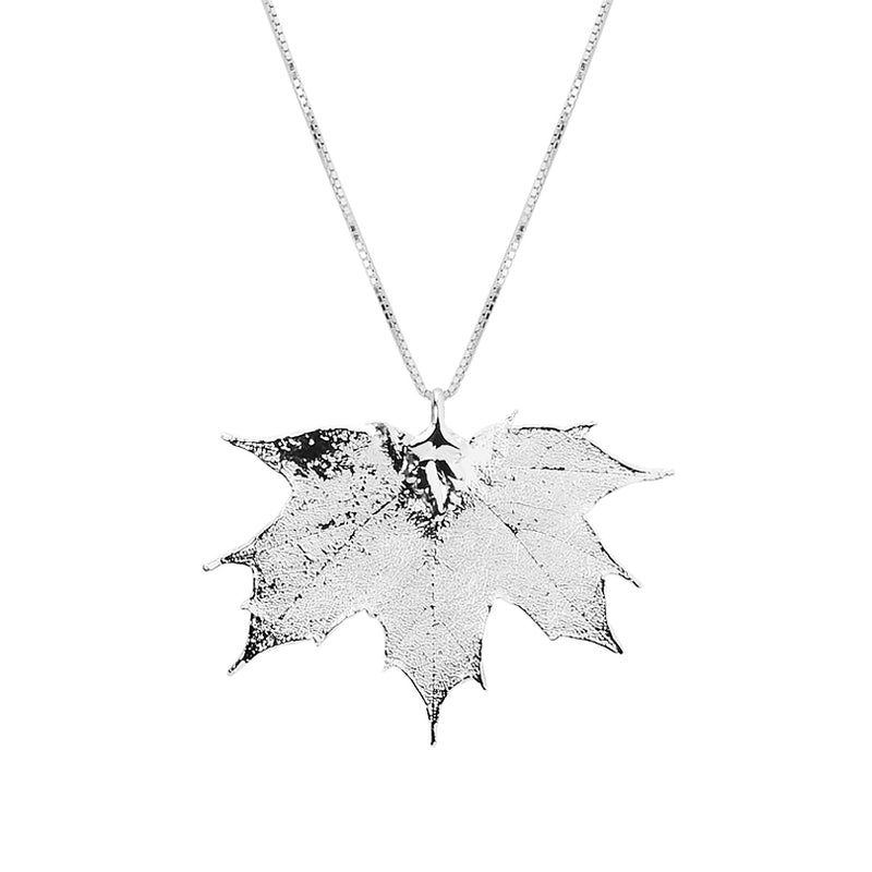 Gorgeous Sterling Silver Saturated Real Maple Leaf  Necklace