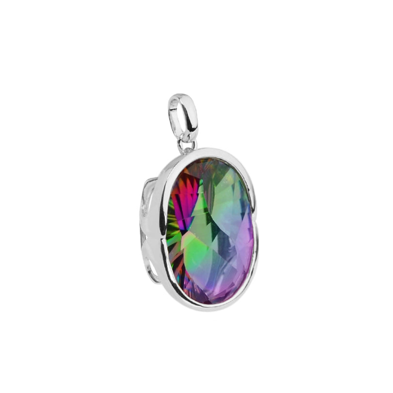 Special Cut Rainbow Mystic Quartz Sterling Silver Statement Pendant