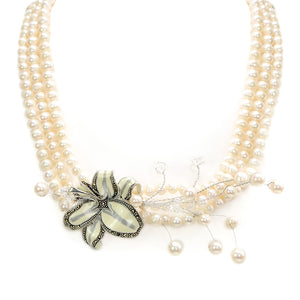 Gorgeous White Lily with Marcasite Trim on 3-Strand Fresh Water Pearl Neckline, Sterling Silver Flower Necklace