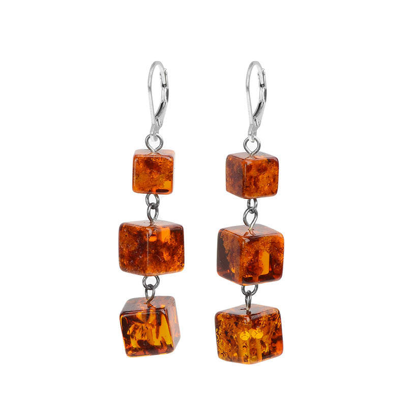 3-Tier Cognac Baltic Amber Sterling Silver Earrings