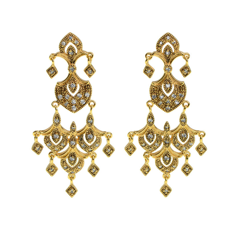 Antiqued Finish Golden Dynasty Crystal Earrings