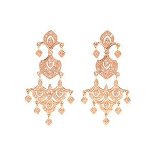 Sparkling 14kt Rose Gold Plated Crystal CZ 3 Tier Earrings