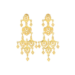 14kt Gold Plated Crystal Chandelier Earrings
