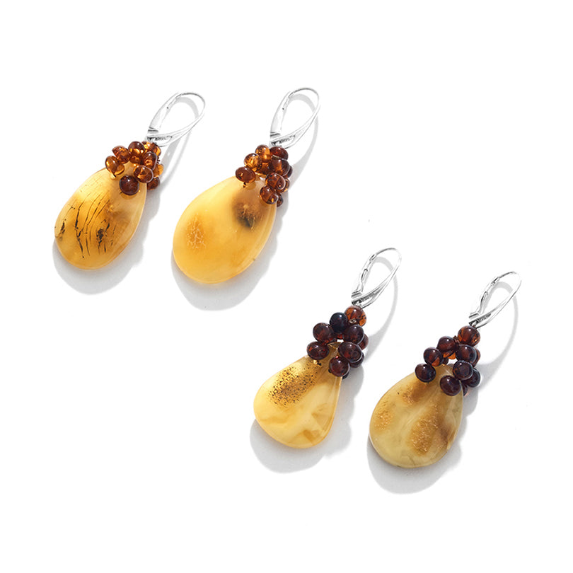 Polish Designer Butterscotch Baltic Amber Sterling Silver Earrings