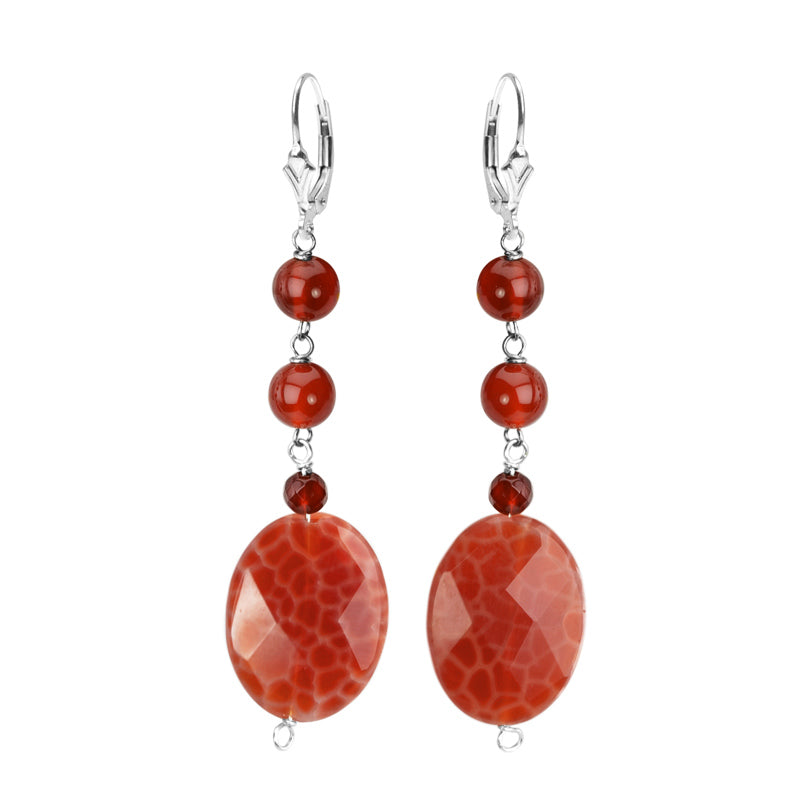 Fire Agate and Carnelian Sterling Silver Earrings