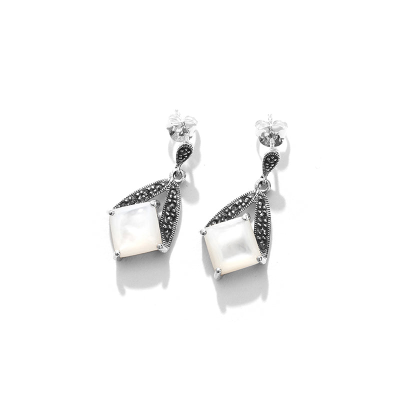 Shimmering Mother of Pearl and Marcasite Sterling Silver Earring