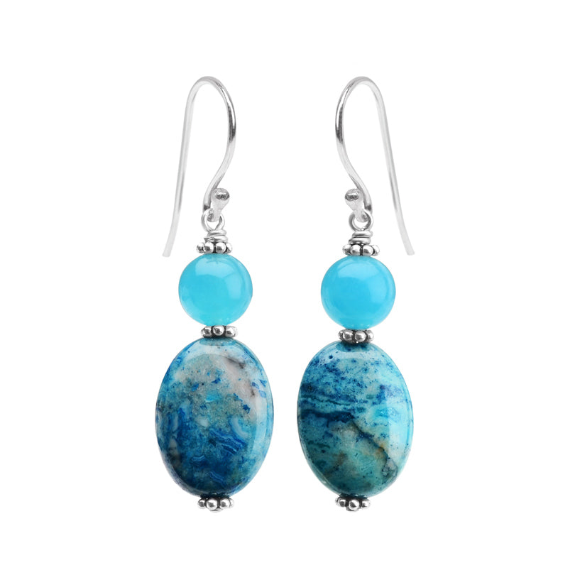 Gorgeous Blue Agate and Swirling Colors of Blue Jasper Sterling Silver Earrings