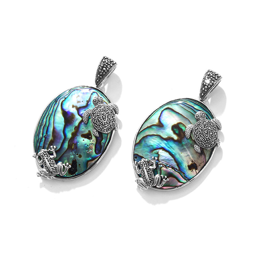 Swimming Marcasite Frogs and Turtle Abalone Sterling Silver Pendant