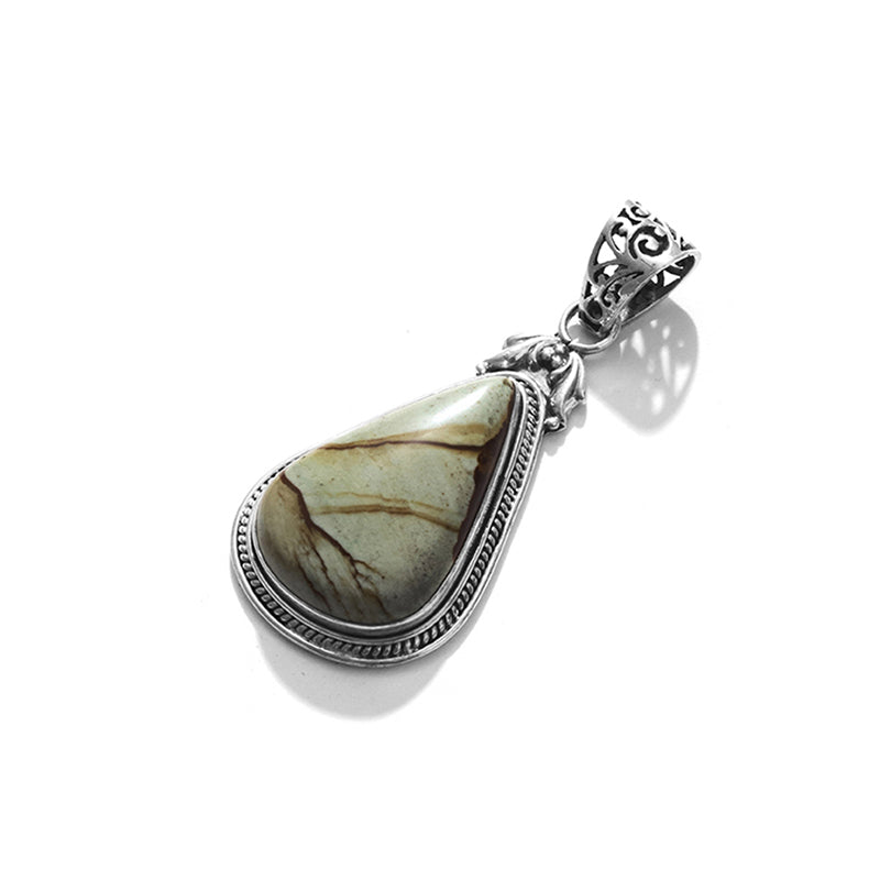 Gorgeous Picture Jasper Sterling Silver Statement Pendant