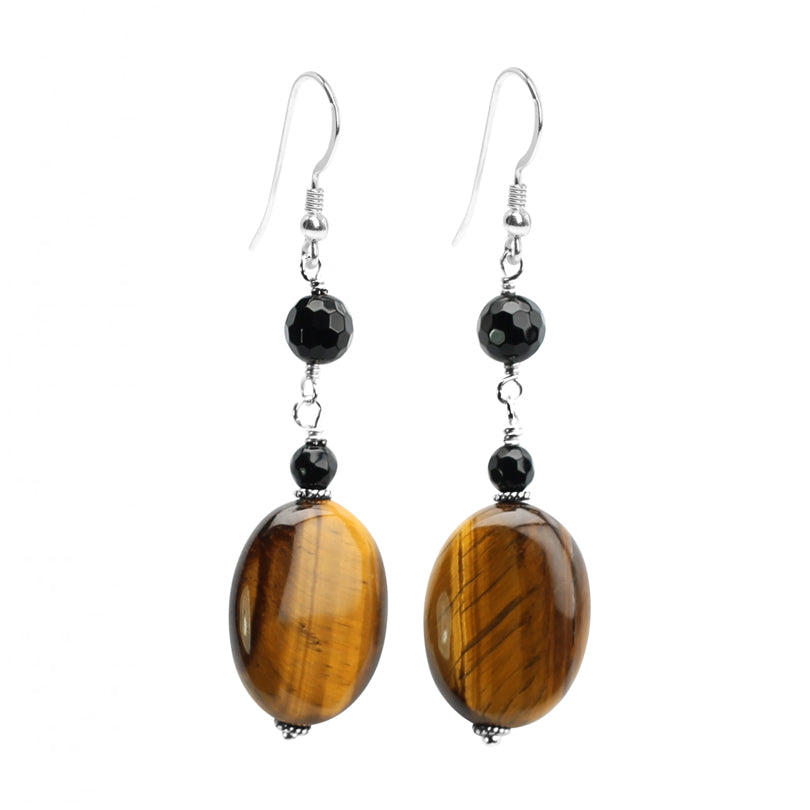Shimmering Tiger's Eye and Black Onyx Sterling Silver Earrings