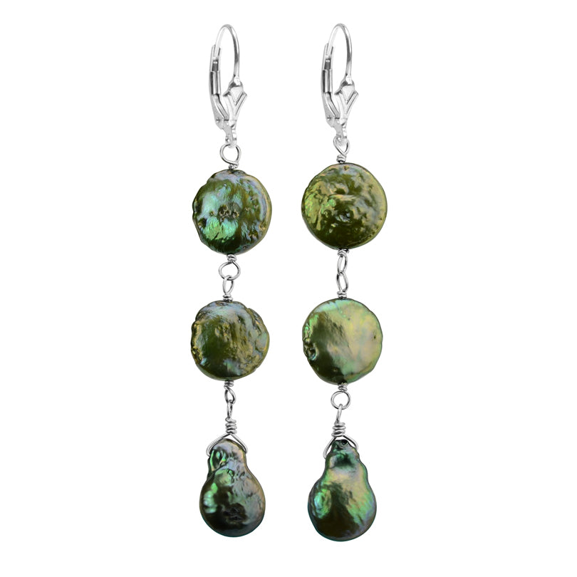 Luxurious Emerald Green Coin Pearl Sterling Silver Earrings