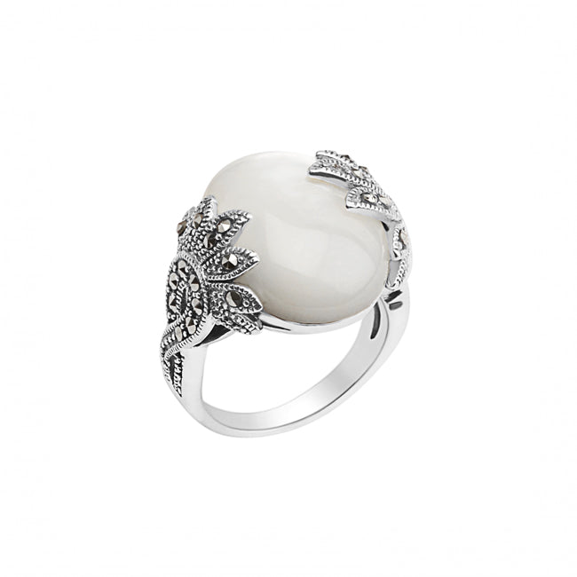 Shimmering Sterling Silver Marcasite and White Mother of Pearl Ring
