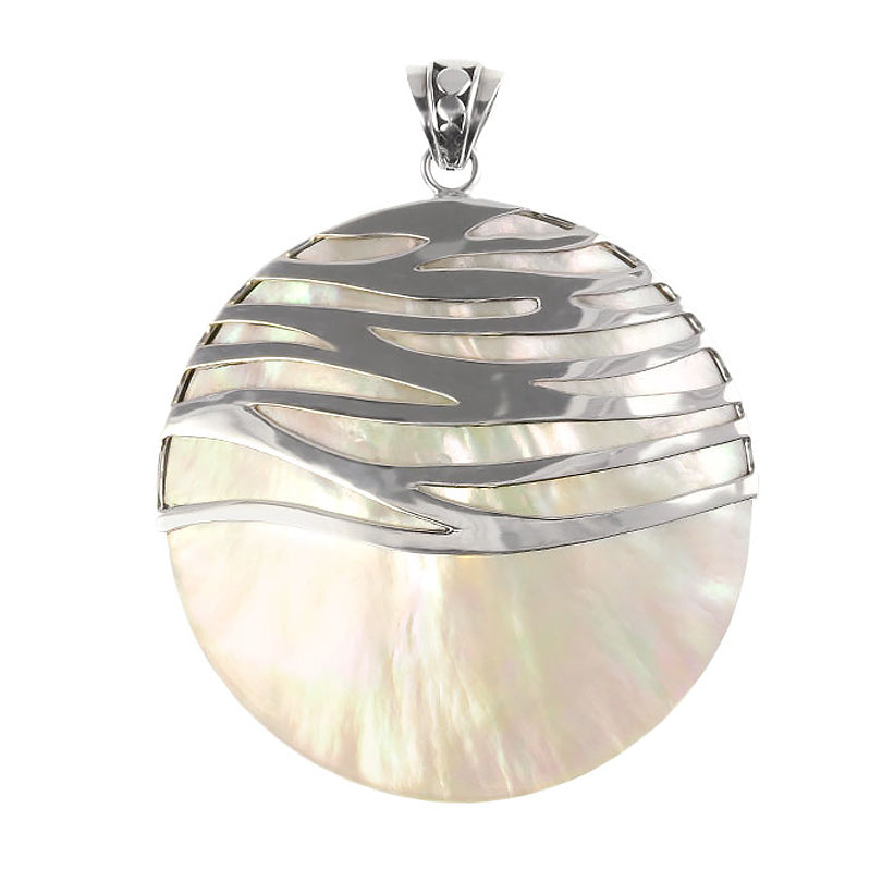 Waves of Silver Across White Shell Sterling Silver Statement Pendant- 2 sizes