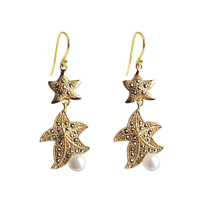 Marcasite 14kt Gold Plated Gorgeous Starfish Earrings
