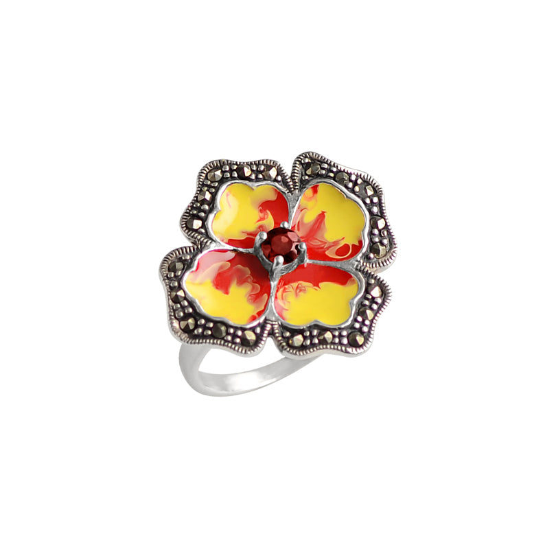 Sunny Flower With Garnet and  Marcasite Sterling Silver Ring
