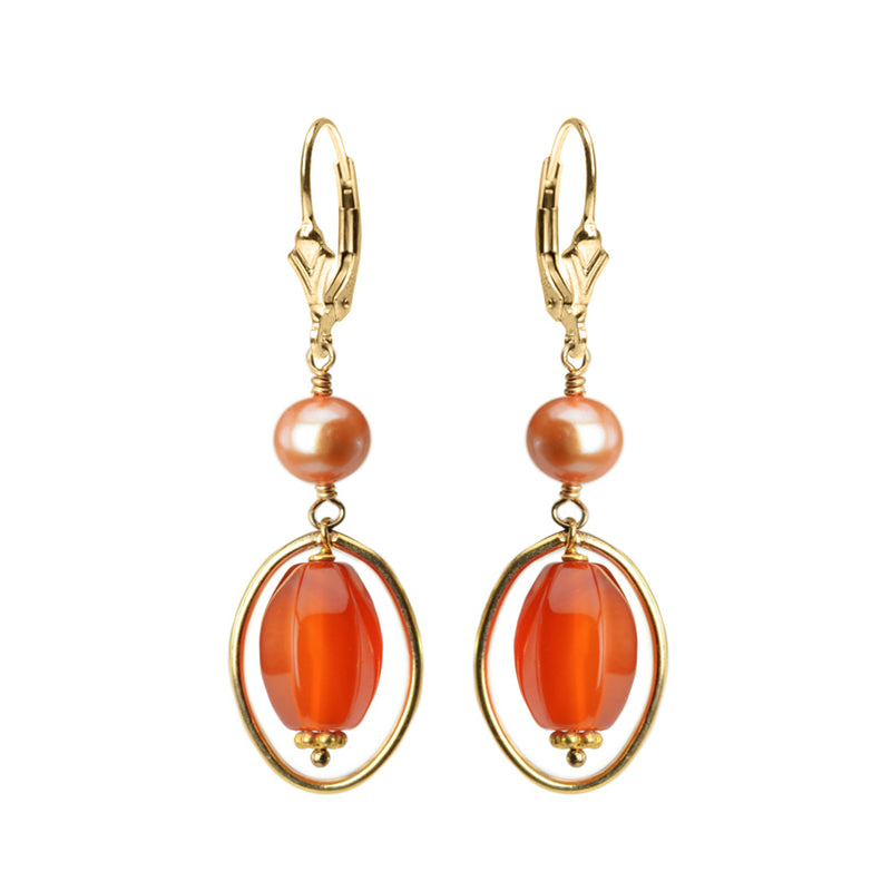 Bright Carnelian and Fresh Water Pearl Gold Filled Earrings