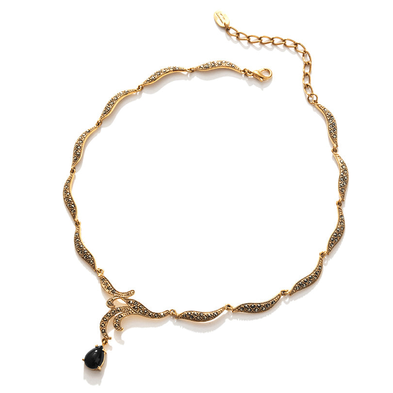 Petite Black Agate Contessa Gold Plated Marcasite Necklace