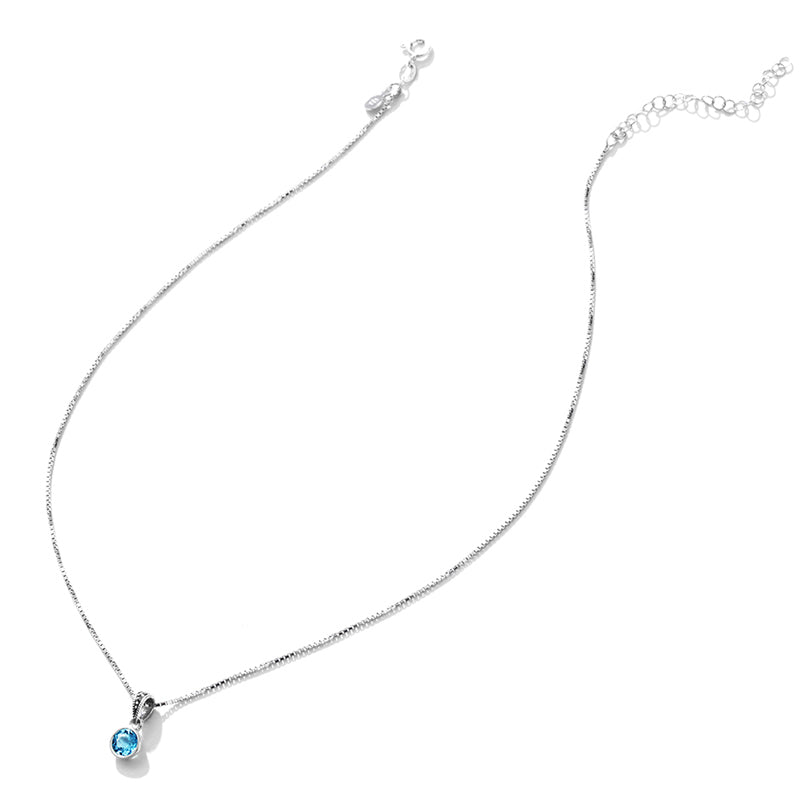 Petite Blue Topaz Sterling Silver Necklace