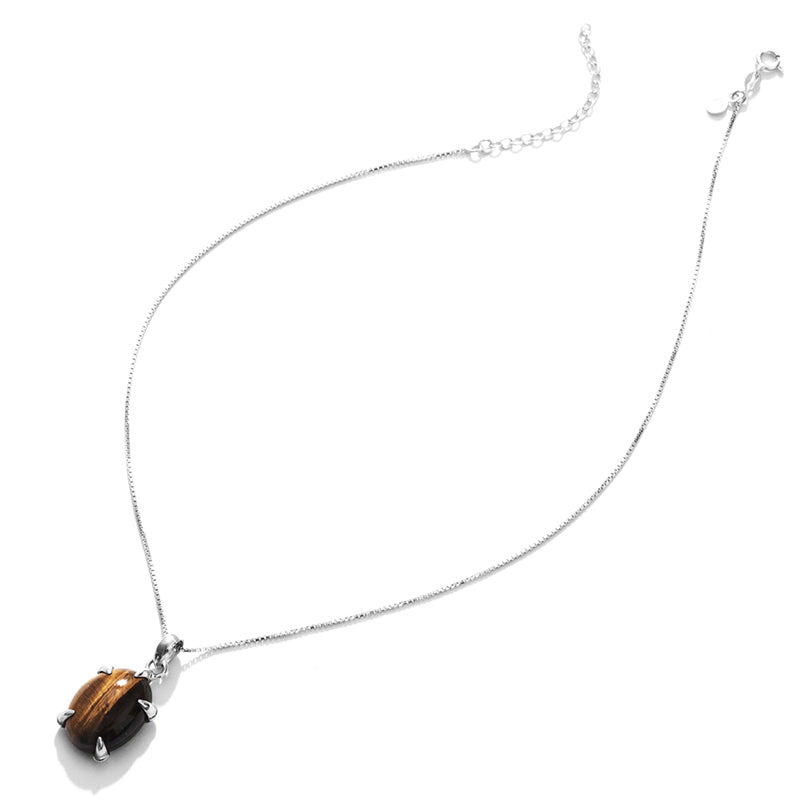 Glimming Tiger's Eye Sterling Silver Necklace