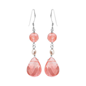 Cherry Quartz and Fresh Water Pearl Sterling Silver Earrings