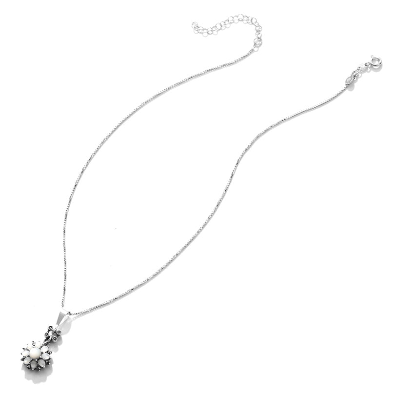 Shimmering Petite Mother of Pearl Flower Sterling Silver Necklace