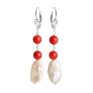 Brilliant Bamboo Coral (dyed) and Fresh Water Pearl Sterling Silver Earrings