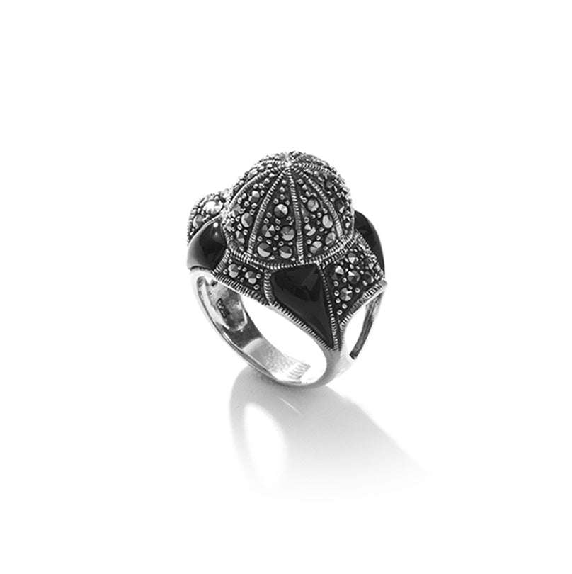 Stunning Black Onyx & Marcasite Sterling Statement Silver Ring