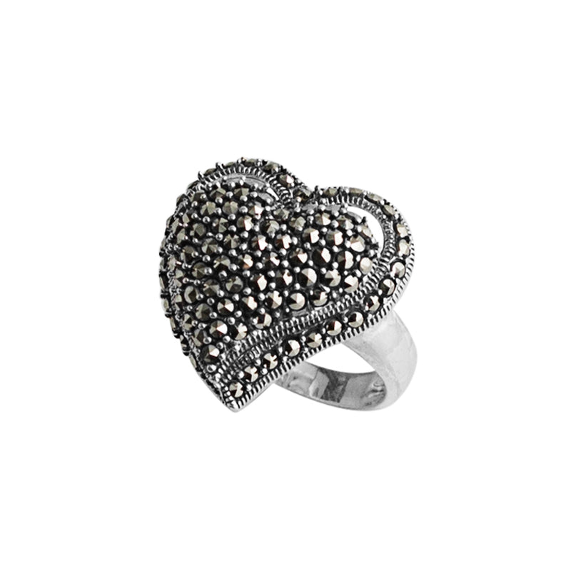 Captivating Marcasite Sterling Silver Heart Ring