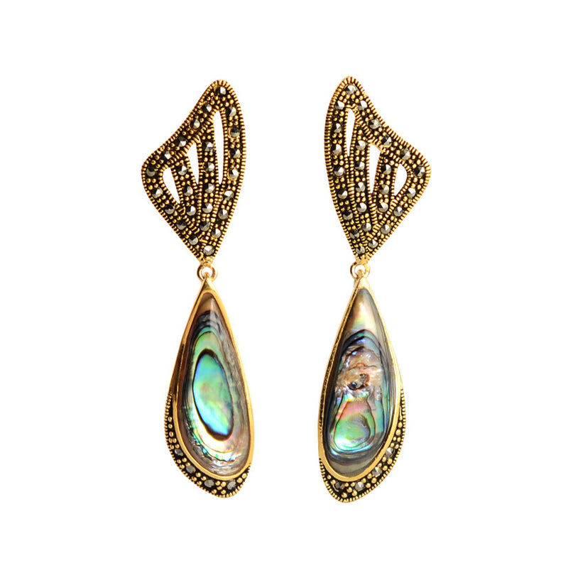 Abalone Marcasite Gold Plated Earrings